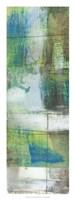 "White on Blue III by Jennifer Goldberger - 12"" x 32"""