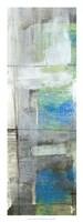 "White on Blue IV by Jennifer Goldberger - 12"" x 32"""