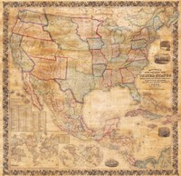 1856 Mitchell Wall Map of the United States and North America Fine Art Print