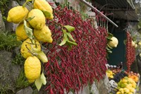 """Close-up of lemons and chili peppers in a market stall, Sorrento, Naples, Campania, Italy by Panoramic Images - 16"""" x 11"""""""