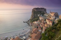 """High angle view of a town and a castle on a cliff, Castello Ruffo, Scilla, Calabria, Italy by Panoramic Images - 16"""" x 11"""""""