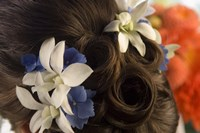 """Close-up of flowers in a bride's hair, Bainbridge Island, Washington State, USA by Panoramic Images - 16"""" x 11"""""""
