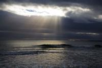 Sun Shining through Dark Clouds, Lady's Cove, The Copper Coast, County Waterford, Ireland Fine Art Print
