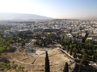 """Ruins of a theater with a cityscape in the background, Theatre of Dionysus, Acropolis Museum, Acropolis, Athens, Attica, Greece by Panoramic Images - 36"""" x 27"""""""
