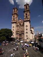 "Group of people in front of a cathedral, Santa Prisca Cathedral, Plaza Borda, Taxco, Guerrero, Mexico by Panoramic Images - 27"" x 36"", FulcrumGallery.com brand"