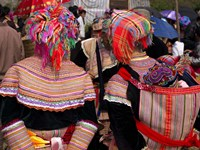 """Rear view of two Flower Hmong women at a market, Bac Ha Sunday Market, Lao Cai Province, Vietnam by Panoramic Images - 36"""" x 27"""""""