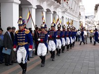 Soldiers parade during changing of the guard ceremony, Plaza de La Independencia, Quito, Ecuador Fine Art Print