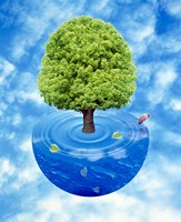 """Lush green tree growing from half sphere of blue water and ripples floating in cloudy blue sky by Panoramic Images - 30"""" x 36"""", FulcrumGallery.com brand"""