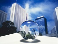 """Close up of clear globe with white sky line in center duplicated background by Panoramic Images - 24"""" x 18"""""""