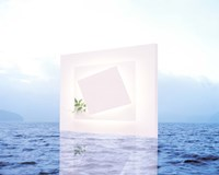 """White frame with small vine floating on blue water with reflection by Panoramic Images - 24"""" x 19"""""""