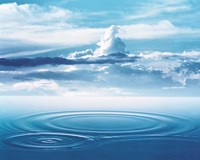 """Dramatic cloud formations above rings in deep blue water by Panoramic Images - 24"""" x 19"""""""