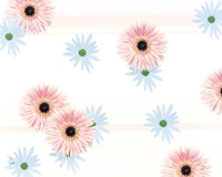 """Pink and blue daisies on pink blue and white fabric by Panoramic Images - 16"""" x 13"""""""