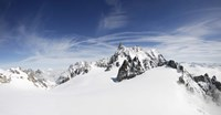 """Clouds over a snow covered mountain, Dent du Geant, Aiguille de Rochefort, Helbronner, Val D'Aosta, Italy by Panoramic Images - 16"""" x 8"""""""