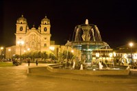 Fountain lit up at night at a town square, Cuzco, Cusco Province, Cusco Region, Peru Fine Art Print