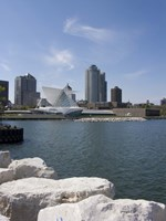 "Museum at the waterfront, Milwaukee Art Museum, Lake Michigan, Milwaukee, Wisconsin, USA by Panoramic Images - 27"" x 36"""