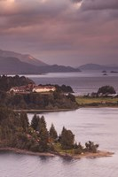 Hotel at the lakeside, Llao Llao Hotel, Lake Nahuel Huapi, San Carlos de Bariloche, Rio Negro Province, Patagonia, Argentina Fine Art Print