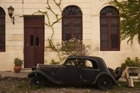 """Vintage car parked in front of a house, Calle De Portugal, Colonia Del Sacramento, Uruguay by Panoramic Images - 24"""" x 16"""""""