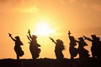 "Silhouette of hula dancers at sunrise, Molokai, Hawaii, USA by Panoramic Images - 36"" x 24"""