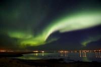 Aurora Borealis in the sky, Alftanes, Reykjavik, Iceland Fine Art Print