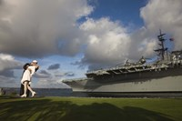 Sculpture Unconditional Surrender with USS Midway aircraft carrier, San Diego, California, USA Fine Art Print