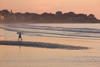 Man walking on the beach, Good Harbor Beach, Gloucester, Cape Ann, Massachusetts, USA Fine Art Print