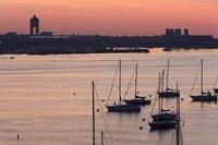 "Boats in the sea, Logan International Airport, Boston Harbor, Boston, Massachusetts, USA by Panoramic Images - 24"" x 16"""