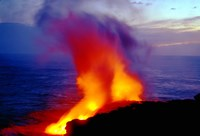 "Lava from Volcano Falling into Sea, Big Island, Hawaii by Panoramic Images - 24"" x 16"""