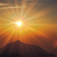 """Sun Shinning Over the Mountain, Computer graphics, Lens Flare by Panoramic Images - 16"""" x 16"""", FulcrumGallery.com brand"""