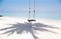 "Beach swing and shadow of palm tree on sand by Panoramic Images - 24"" x 16"""