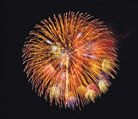 """One big circle of fireworks with black background by Panoramic Images - 24"""" x 21"""""""