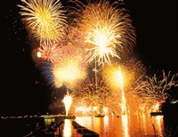 """Fireworks display in night by Panoramic Images - 24"""" x 18"""""""