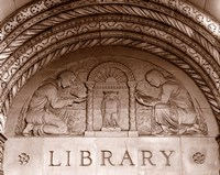 Detail of carvings on the wall of Powell Library, University of California, Los Angeles, California, USA Fine Art Print