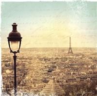 Eiffel Landscape Letter Blue I Fine Art Print