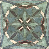 Tuscan Tile Blue Green II Fine Art Print