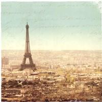 Eiffel Landscape Letter Blue II Fine Art Print