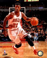 Jimmy Butler with the ball 2013-14 Framed Print
