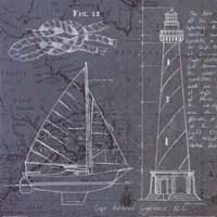 Coastal Blueprint III Framed Print