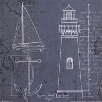 Coastal Blueprint IV Framed Print