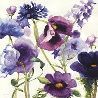 Blue and Purple Mixed Garden I Fine Art Print