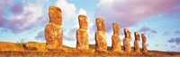 """7 Statues on Easter Island Chile by Panoramic Images - 28"""" x 9"""""""