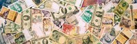"""Collection of currencies of various countries by Panoramic Images - 28"""" x 9"""""""