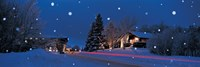 """Houses snowfall NH USA by Panoramic Images - 27"""" x 9"""", FulcrumGallery.com brand"""