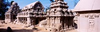 """Monuments in a temple, Panch Rathas, Mahabalipuram, Tamil Nadu, India by Panoramic Images - 28"""" x 9"""""""