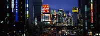 "Buildings lit up at night, Shinjuku Ward, Tokyo Prefecture, Kanto Region, Japan by Panoramic Images - 24"" x 9"""