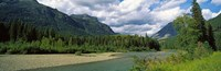 "Creek along mountains, McDonald Creek, US Glacier National Park, Montana, USA by Panoramic Images - 28"" x 9"""