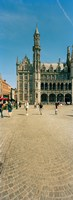 "Tourists at a market, Bruges, West Flanders, Flemish Region, Belgium by Panoramic Images - 9"" x 25"""