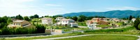 """High angle view of houses, Ansouis, Vaucluse, Provence-Alpes-Cote d'Azur, France by Panoramic Images - 31"""" x 9"""""""