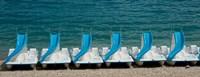 """Slide boats on beach, Lac de Sainte Croix, Alpes-de-Haute-Provence, Provence-Alpes-Cote d'Azur, France by Panoramic Images - 23"""" x 9"""""""