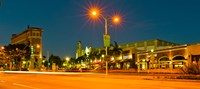 """Night scene Culver City, Los Angeles County, California, USA by Panoramic Images - 20"""" x 9"""", FulcrumGallery.com brand"""