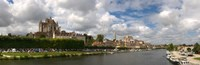 """Cathedral at the waterfront, Cathedrale Saint-Etienne D'Auxerre, Auxerre, Burgundy, France by Panoramic Images - 28"""" x 9"""""""